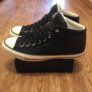 Converse All Star Hi Black Leather Unisex Sneakers